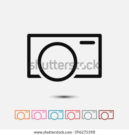 Set of: black Camera vector icon, orange Camera icon, pink Camera icon, blue Camera icon, red Camera icon, gray Camera icon, brown Camera icon - stock vector