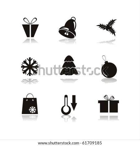 set of 9 black christmas icons - stock vector
