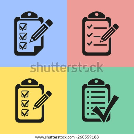 Set of black clipboard icons. Vector illustration. - stock vector