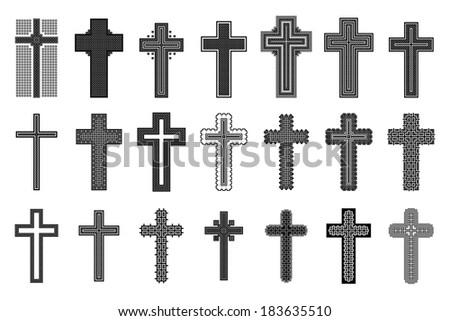 set of black crosses - stock vector