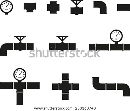 Set of black details pipes - stock vector