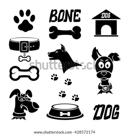 Set of black dog icons isolated on white background, illustration. - stock vector