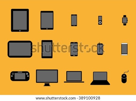 Set of black editable flat icons - PC hardware, computer parts and electronic devices Electronic Devices Icons with Yellow Background