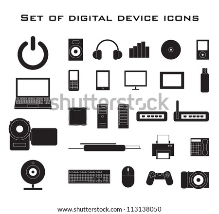 Set of black electronic device icons. - stock vector