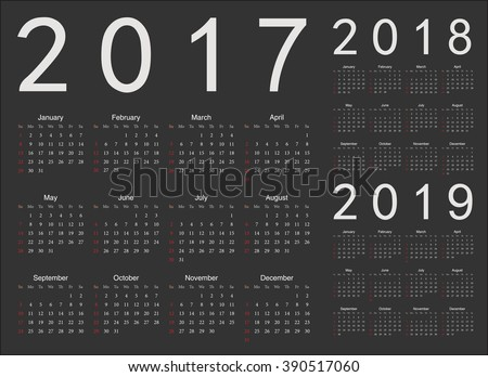 Set of black european 2017, 2018, 2019 year vector calendars. Week starts from Sunday.