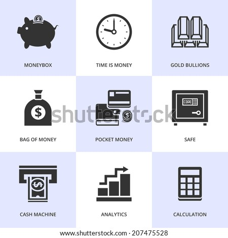 Set of black finance and money icons. Vector money stuff in flat simple style.  - stock vector
