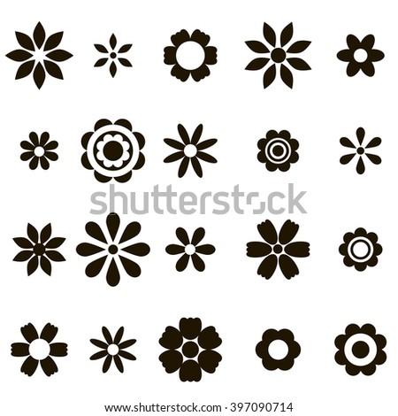 set of black flat flower icons - stock vector