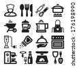 Set of black flat icons about cooking - stock vector