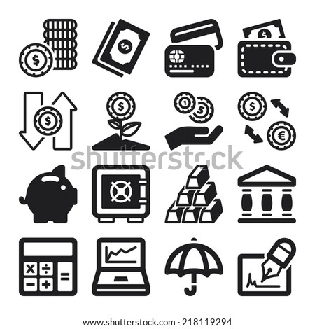 Set of black flat icons about finances - stock vector