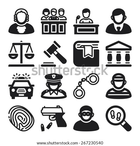 Set of black flat icons about law - stock vector