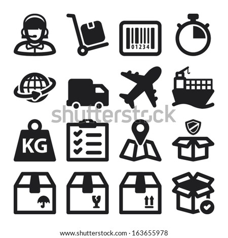 Set of black flat icons about shipping