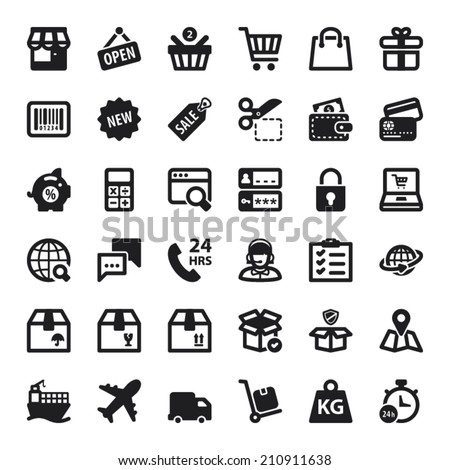 Set of black flat icons about shopping online - stock vector
