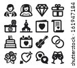 Set of black flat icons about weddings - stock