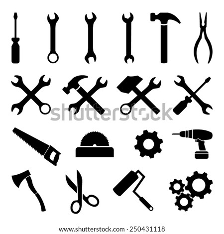 Set of black flat icons - tools, technology and work - stock vector