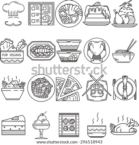 Set of 20 black flat line vector icons for restaurant or cafe food on white background.