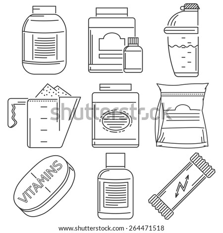 Set of black flat line vector icons for sport supplements set for athlete diet on white background. - stock vector