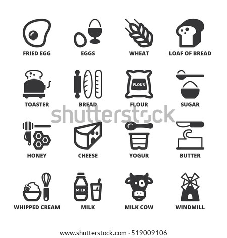 Set Black Flat Symbols About Dairy Stock Vector 519009106 Shutterstock
