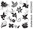 """Set of black floral design elements (from my """"Big floral collection"""") - stock photo"""