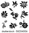 "Set of black flower design elements (from my big ""Flower-set collection"") - stock photo"