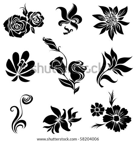 "Set of black flower design elements (from my big ""Flower-set collection"") - stock vector"