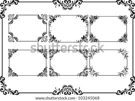 Set of black frame and floral corner. - stock vector
