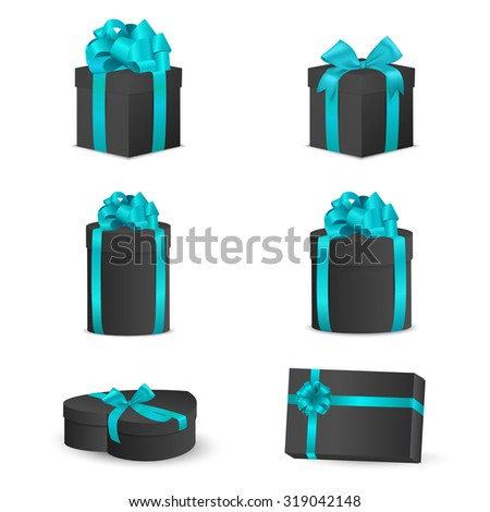 Set of black gift boxes with blue bows and ribbons.  Vector EPS10 illustration. - stock vector