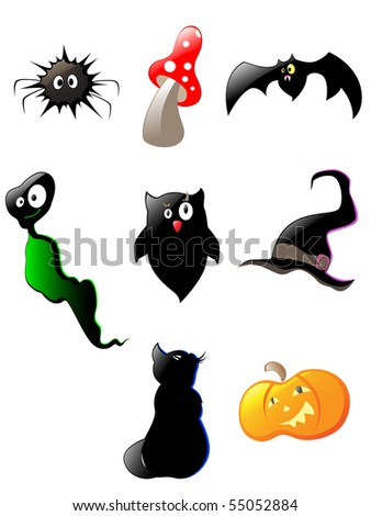 set of black glossy  Halloween icons