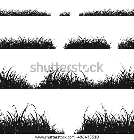 Set of Black Grass Silhouette for Your Design. Grasses line Vector illustration