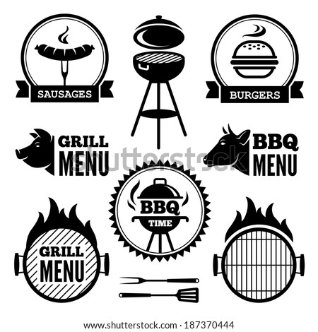 Set of black grill and BBQ symbols and labels - stock vector
