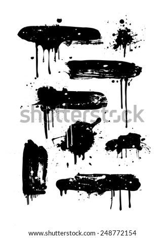 Set of black grunge banners - stock vector