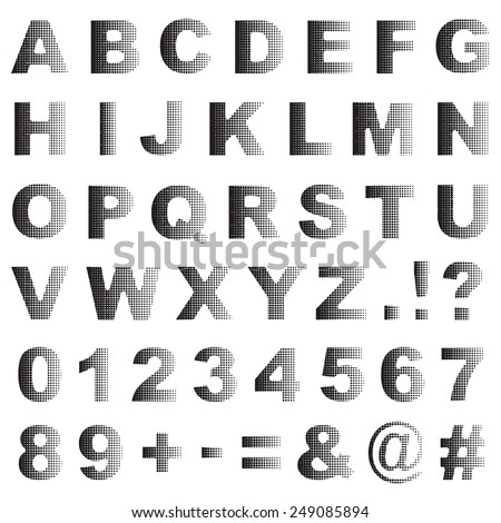 set of black half tone dot alphabet icons, with letters and numbers - stock vector