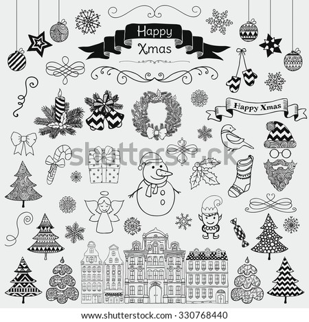 Set of Black Hand Drawn Artistic Christmas Doodle Icons. Xmas Vector Illustration. Sketched Decorative Design Elements, Cartoons. New Year