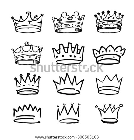 Set of black hand drawn crowns. Vector Illustrations.