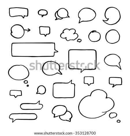 Set of black hand-drawn talking bubbles isolated on white background. Communication, speech and thoughts vector signs collection - stock vector