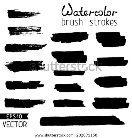 Set of black hand-painted brush strokes. Watercolor stripes isolated on white background. Vector illustration.  - stock vector