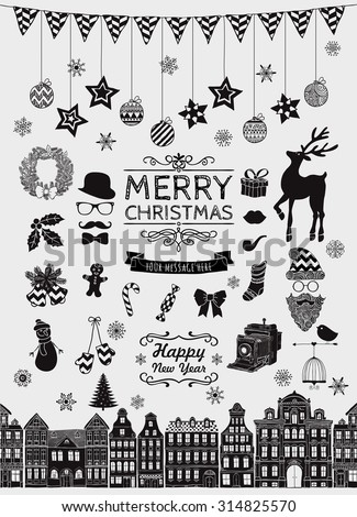 Set of Black Hand Sketched Christmas Doodle Icons, Shapes, Symbols. Xmas Vector Illustration. Text Lettering. Party Design Elements, Cartoons, Seamless Houses. - stock vector