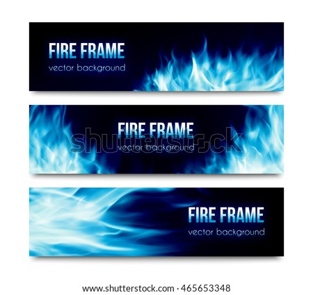 Set of black horizontal vector banners with realistic transparent bright blue fire flames isolated on white background. Abstract website header illustration or flyer templates