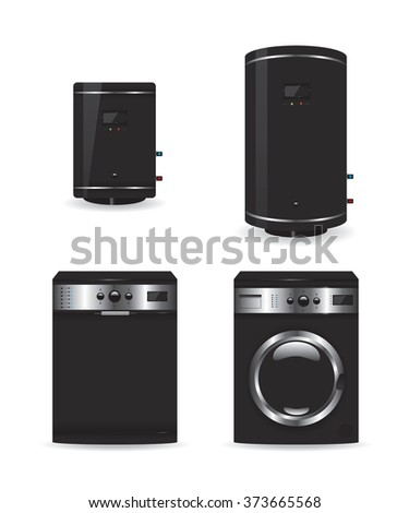 Set of black household appliances  boiler and washing machine - stock vector