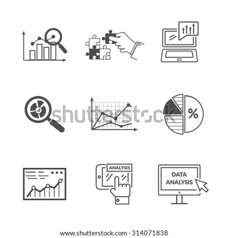 Set of black icons data analysis. Information optimization, trend development, idea and strategy, financial growth, infographic seo, process finance statistic. Set of thin, lines icons - stock vector