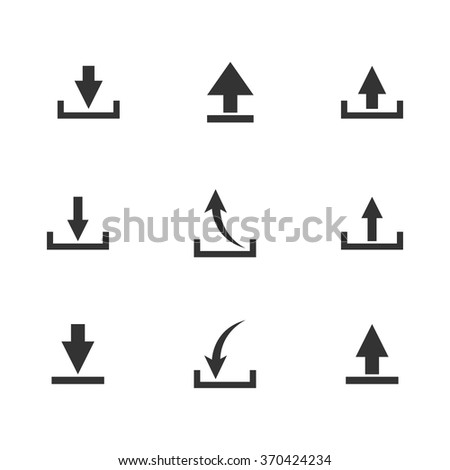 Set of black icons download isolated on white background, vector illustration. - stock vector