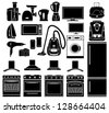 Set of black icons of household appliances. vector - stock vector