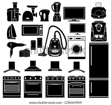 Set of black icons of household appliances vector stock vector