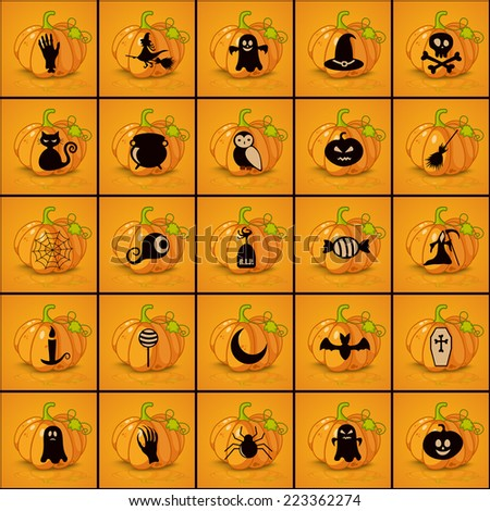 Set of black icons on background of halloween - stock vector