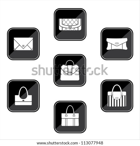 Set of black icons with bags. vector - stock vector
