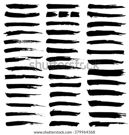 Set of black ink strokes. Black paintbrush. Grungy lines - stock vector