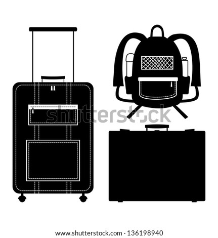Set of black isolated contour silhouettes of bags. Icons collection of bags. Pictogram. Luggage, baggage. Suitcase. Case. Trunk. Rucksack, knapsack - stock vector