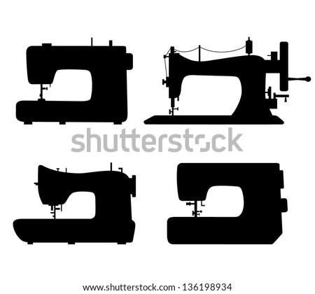 Set of black isolated contour silhouettes of sewing machines. Icons collection of stitching machines. Pictogram - stock vector