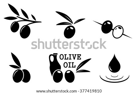 set of black isolated olive icons on white background - stock vector