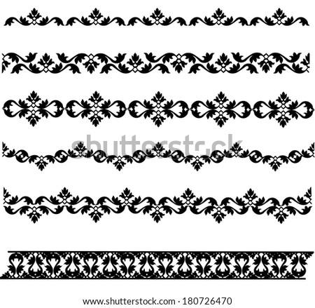 Set of black lace border isolated on white