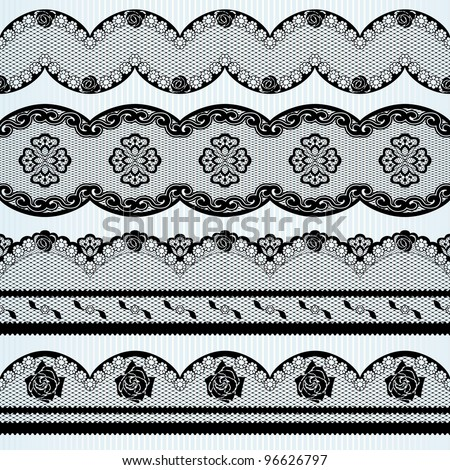 set of black lace ribbons (eps10); jpg version also available - stock vector